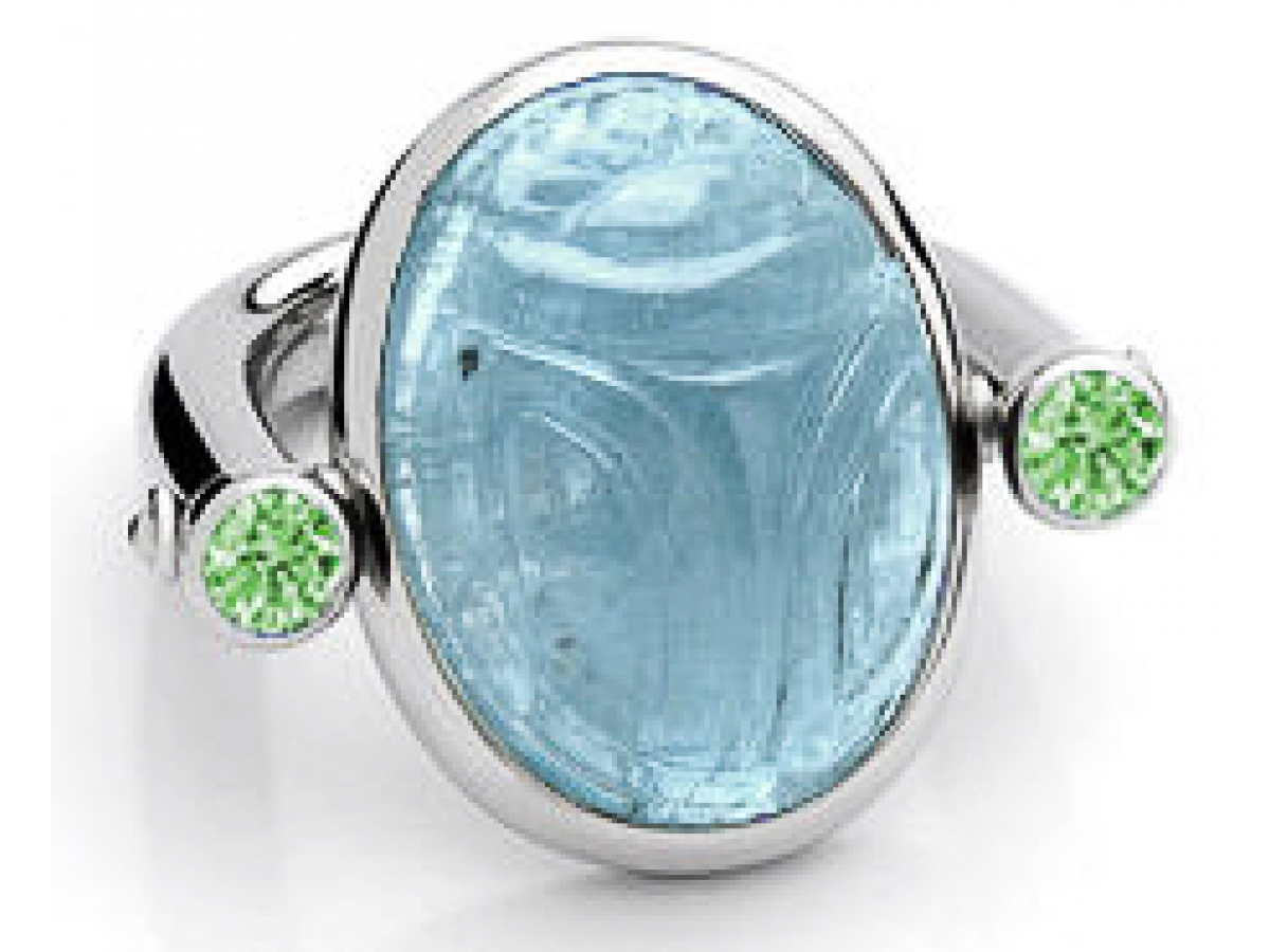 Ring Skarabäus 18 Karat WG 14,3g Aquamarin 22,72 ct & 2 Demantoide 0,71 ct