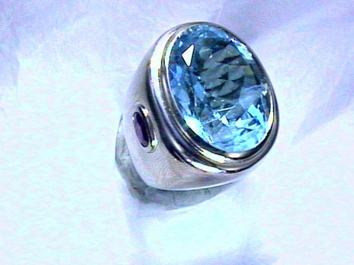 Ring wg Aqua. 26/Rubine 1.43 ct - 33 g | 100.060.899.644