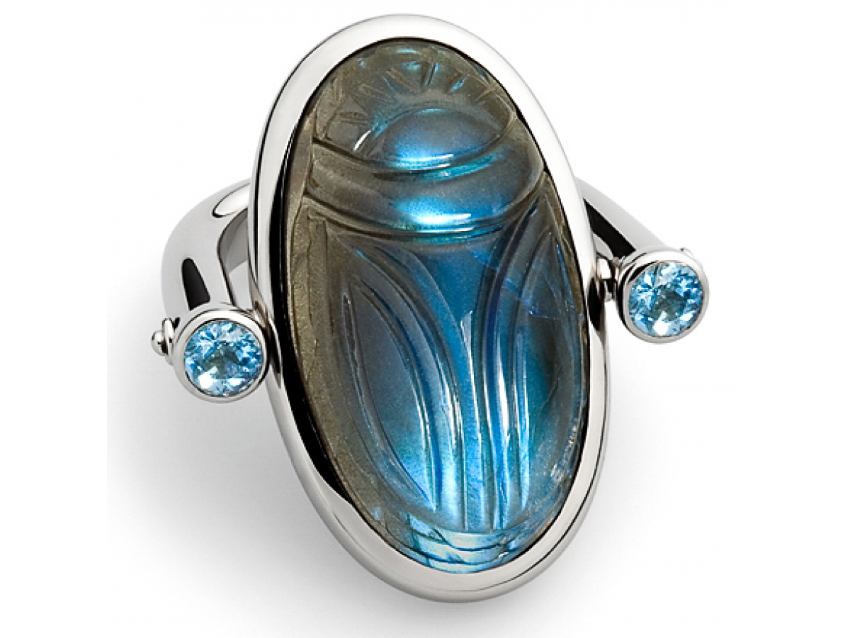 Ring Skarabäus 18 Karat 13,9g Labradorit 27,99 ct & 2 Aquamarine 0,24 ct