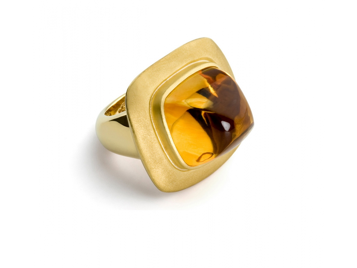 Ring 22 Karat Gelbgold 29 g Citrin Cush.Cut 21,88 ct